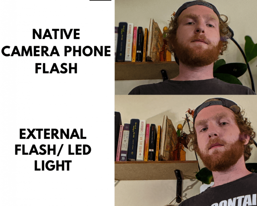 native phone camera flash vs led light external flash